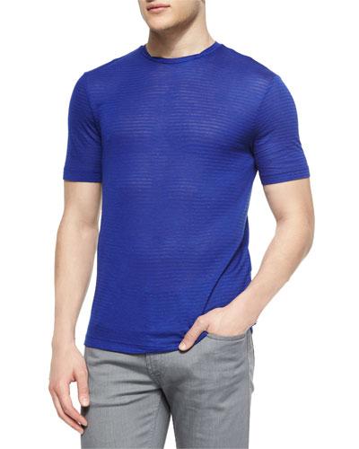 Tonal Stripe Short-Sleeve T-Shirt, Bright Blue