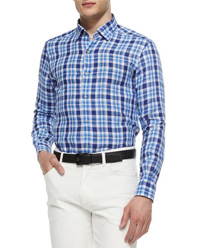 Medium-Check Linen Sport Shirt, Blue