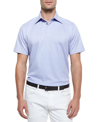Short-Sleeve Knit Polo Shirt, Lilac