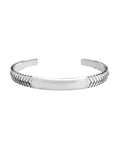 Men's Chevron Cuff Bracelet, Silver
