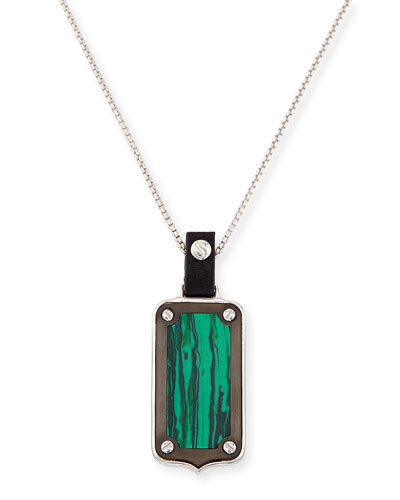 Sterling Silver Malachite Pendant Necklace