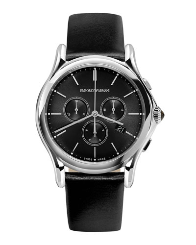 Quartz Chronograph Watch with Leather Strap, Black