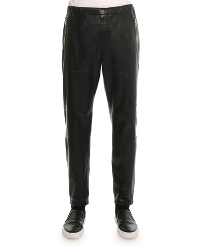 Leather Jogger Pant, Black