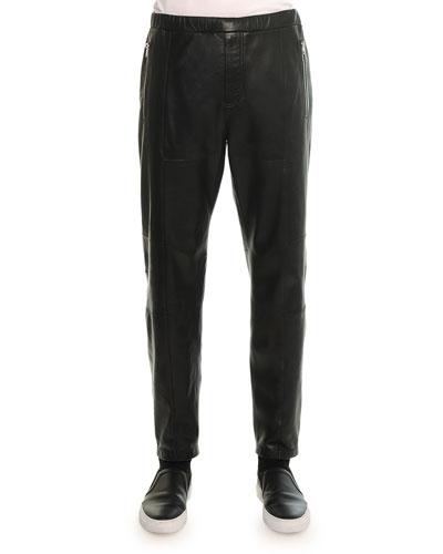 Leather Jogger Pant, Black