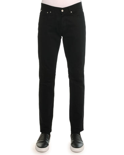 Slim Denim Pants with Leather Back-Pocket, Black