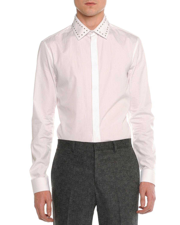 Studded-Collar Long-Sleeve Shirt, White