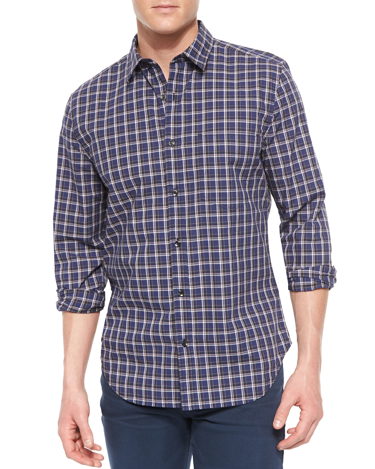 Long-Sleeve Plaid Sport Shirt, Blue/White/Navy