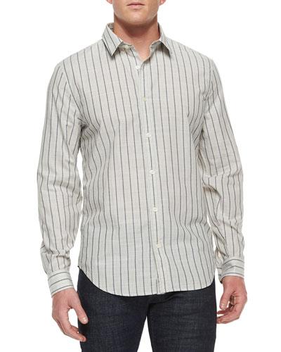 Men's Striped Long-Sleeve Sport Shirt, White/Black