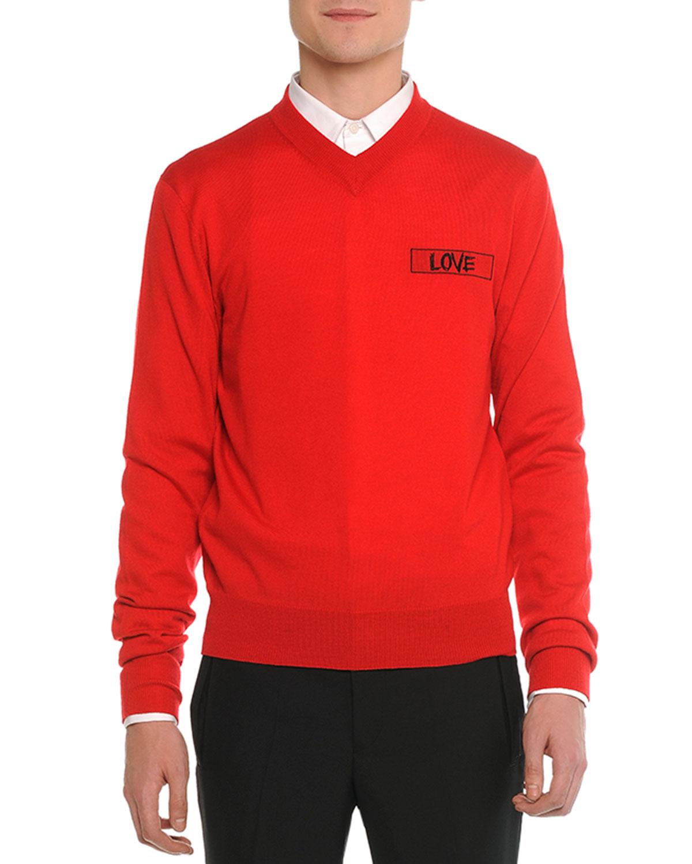 RED LOV VNECK SWEATER