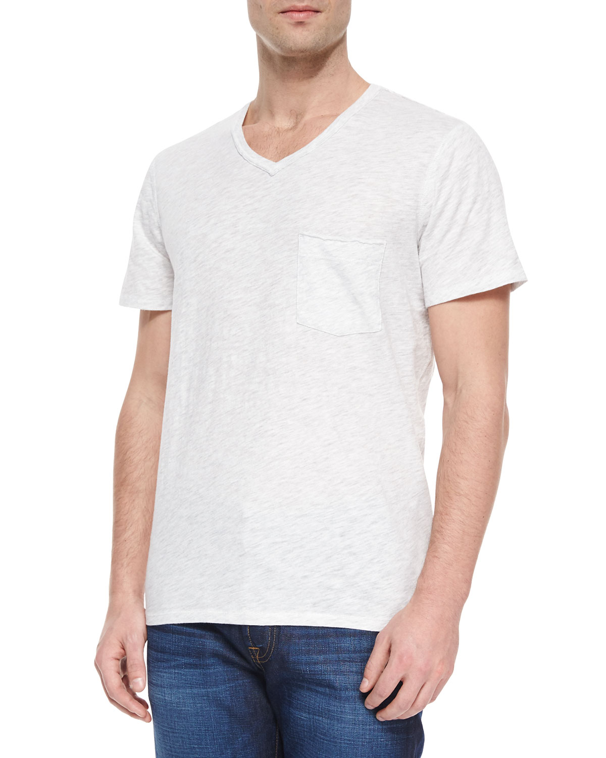 Raw-Edge V-Neck T-Shirt, White