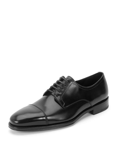 Mabel Cap-Toe Lace-Up Oxford, Black