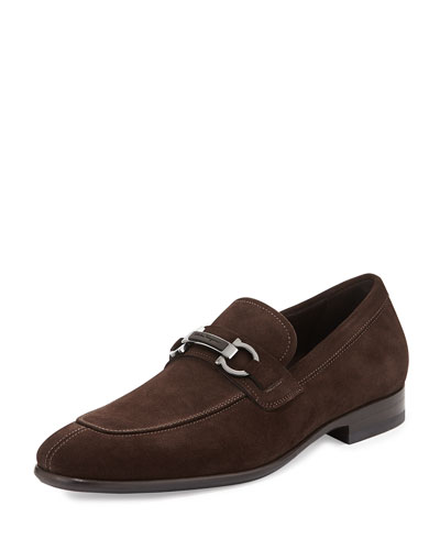 Monaco Suede Gancini Loafer with Stone Detail, Brown
