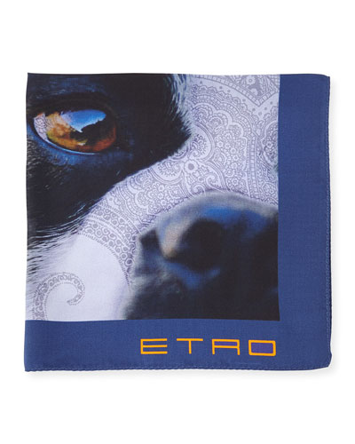 Silk French Bulldog-Print Pocket Square, Blue