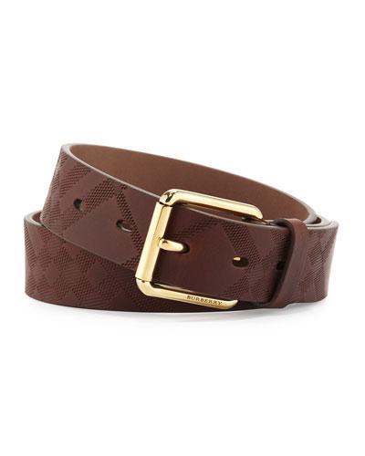 Auburn Embossed-Check Belt, Brown