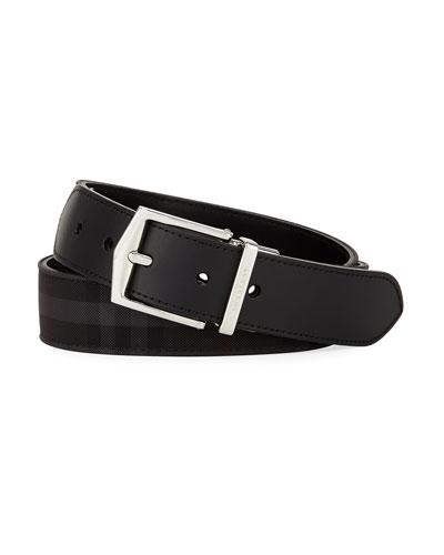 Horseferry Check Belt, Charcoal/Black