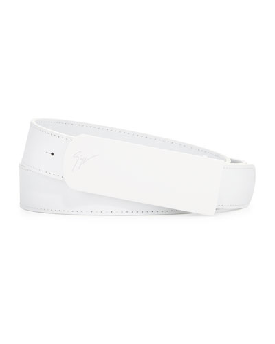 Leather Matte Buckle Belt, White