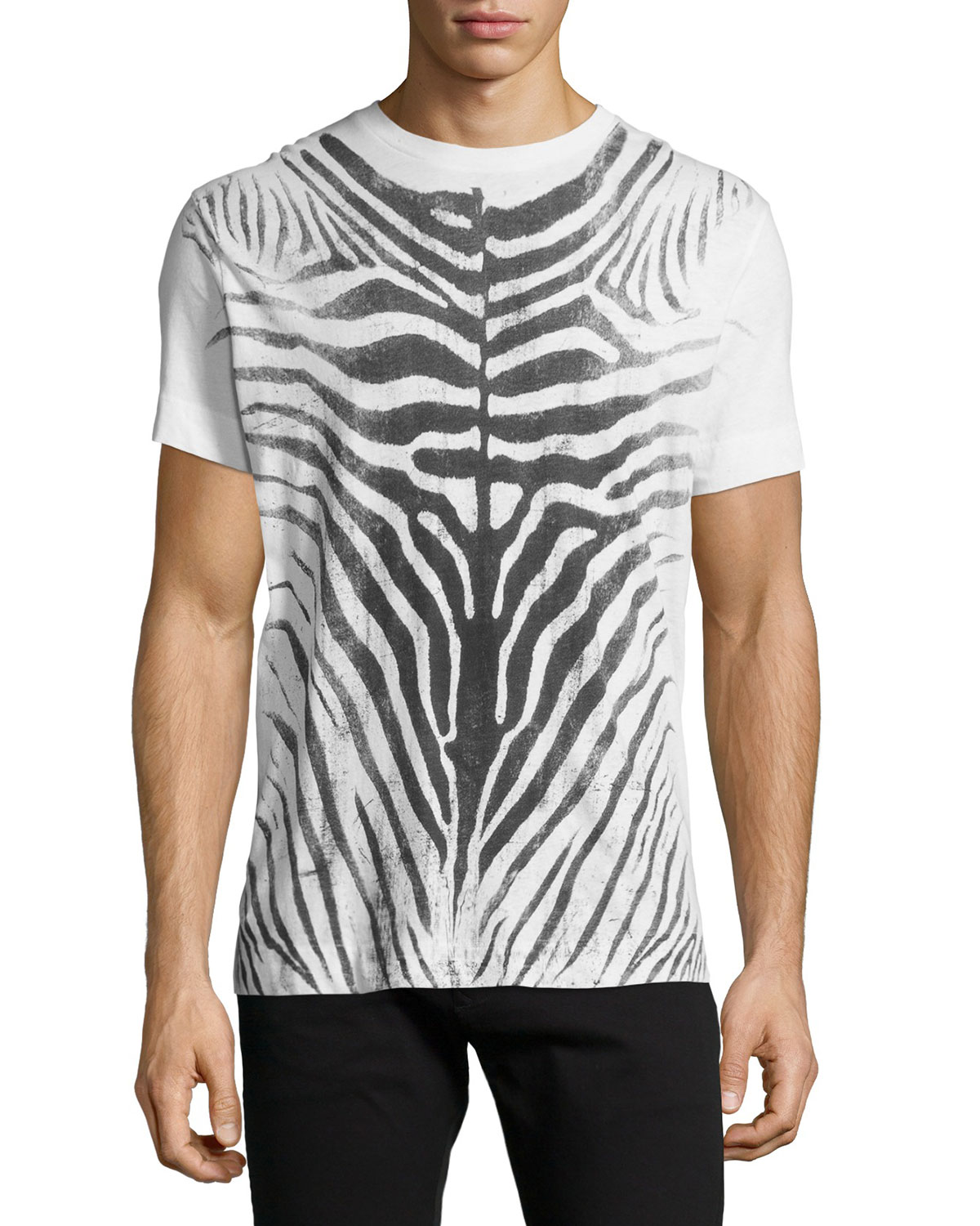 Zebra Water-Print Knit Tee, Off-White