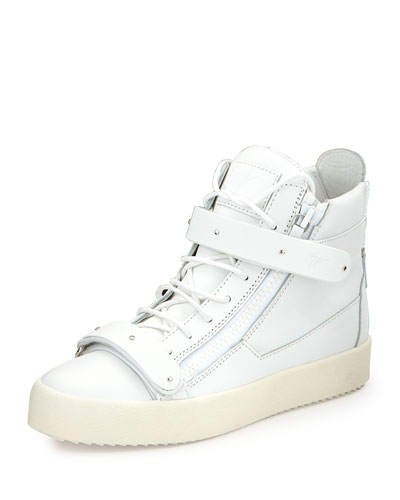 Men's Matte Leather High-Top Sneaker, White