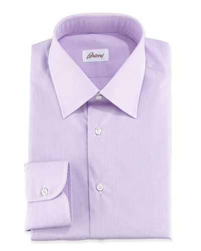 Micro-Check Cotton Dress Shirt, Lavender