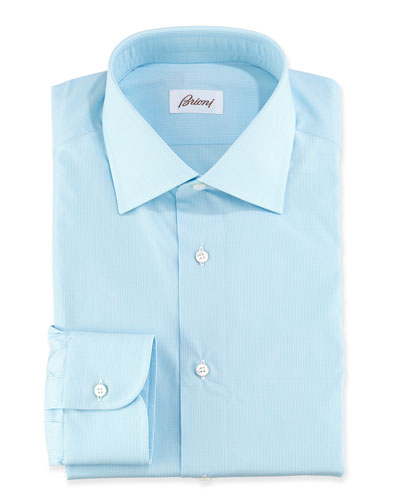 Micro-Check Cotton Dress Shirt, Aqua