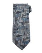 Florence Printed Silk Tie, Gray