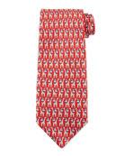 Giraffe & Cloud Print Silk Tie, Red/Blue