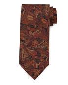 Plume-Print Silk Tie, Magenta/Mustard