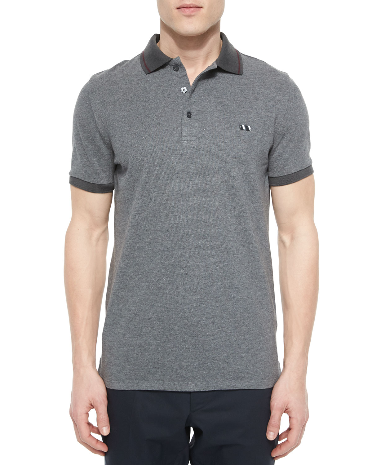 Tipped Pique Short-Sleeve Polo Shirt, Gray