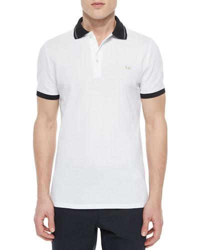 Tipped Pique Short-Sleeve Polo Shirt, White
