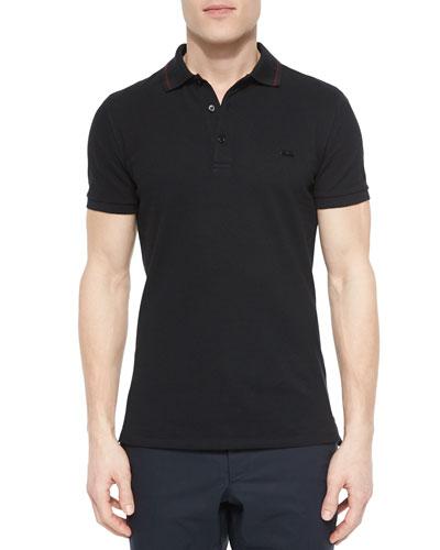Tipped Pique Polo Shirt, Black