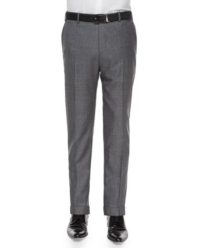 Parker Flat-Front Sharkskin Trousers, Grey
