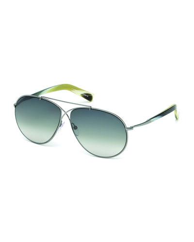 Eva Lightweight Aviator Sunglasses, Silver