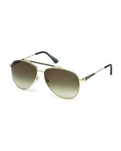 Rick Aviator Sunglasses, Rose Gold