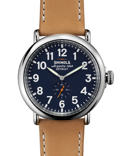 Men'S 41Mm Runwell Leather Strap Watch, Brown/Blue, Midnight Blue/ Natural