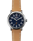 Men's 41mm Runwell Leather Strap Watch, Brown/Blue