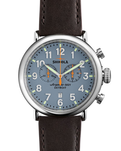47mm Runwell Chrono Watch, Dark Brown/Blue
