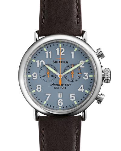 Men's 47mm Runwell Chrono Watch, Dark Brown/Blue
