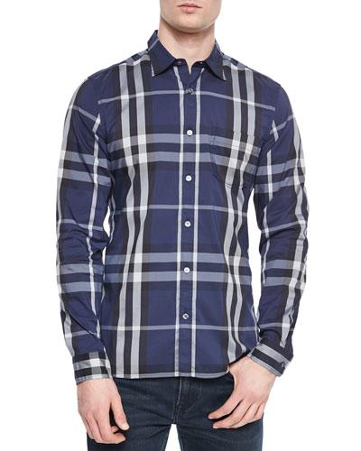 Long-Sleeve Woven Check Shirt, Navy