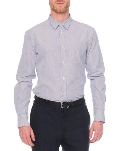 Striped Double-Collar Sport Shirt, Blue
