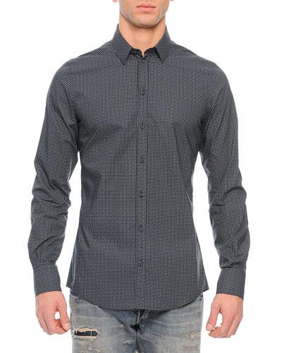 Small Dots Long-Sleeve Sport Shirt, Navy
