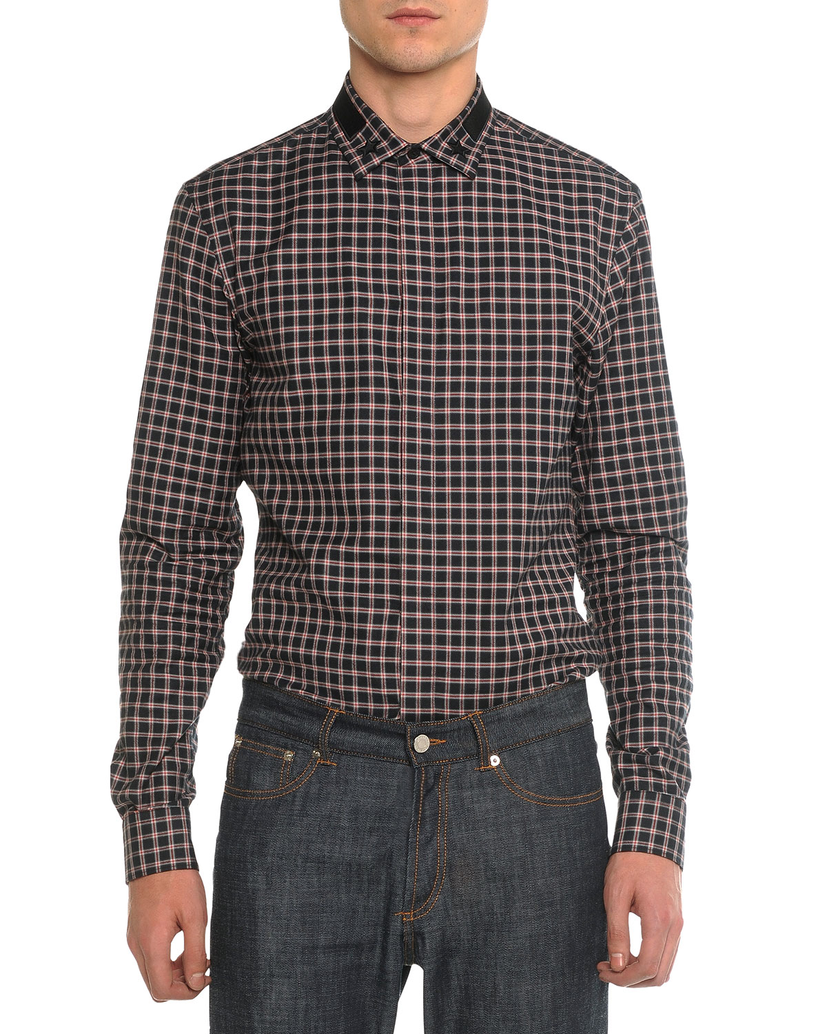 Plaid Woven Shirt with Star Collar, Black