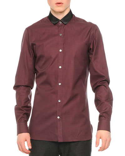 Contrast Collar Striped Button-Down Shirt, Charcoal