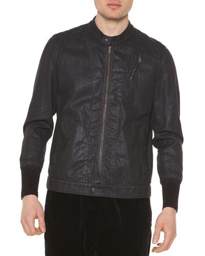 Coated Denim Zip-Up Jacket, Navy
