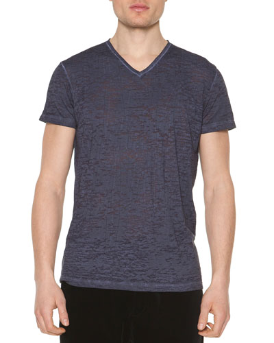 Cotton V-Neck Tee, Navy