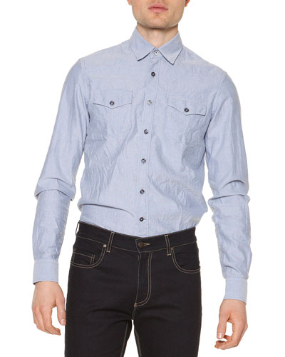Salt-Wash Long-Sleeve Shirt, Light Blue