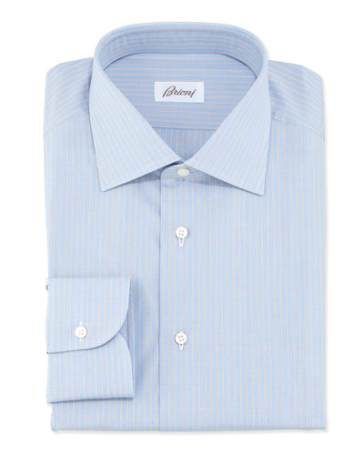 Woven Grid Check Dress Shirt, Orange/Blue