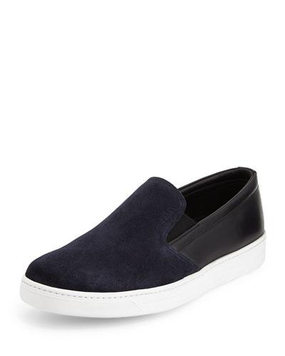 Bicolor Suede & Leather Sneaker, Blue/Black