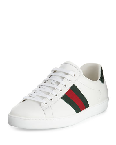 New Ace Leather Low-Top Sneaker, White/Red/Green