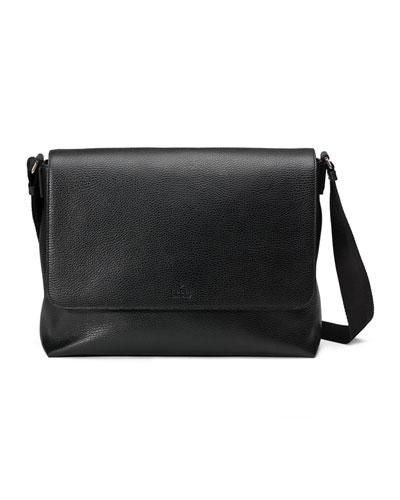 Leather Medium Flap Messenger Bag, Black