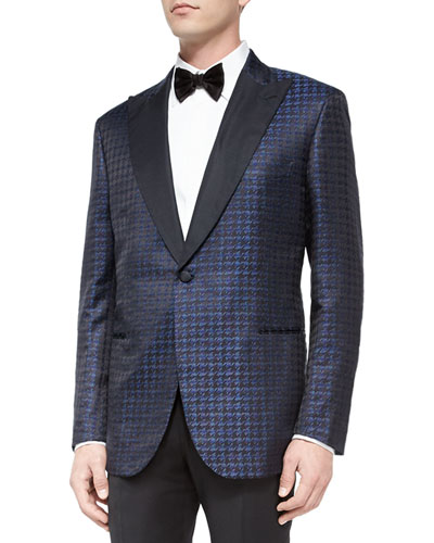Exaggerated Houndstooth Dinner Jacket, Navy/Black